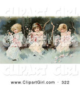 Clip Art of a Cute Vintage Victorian Scene of Three Little Girls Sitting on a Fallen Tree and Making a Garland of the Pink Spring Blossoms, Circa 1890. by OldPixels