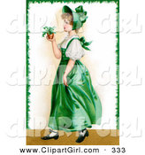 Clip Art of a Cute Vintage Victorian St Patrick's Day Scene of a Young Irish Lady in a Green Dress and Bonnet, Carrying a Small Plant, Circa 1907 by OldPixels