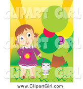 Clip Art of a Cute White Girl and Cat Outdoor by a Tree by