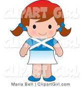Clip Art of a Cute White Scottish Girl Wearing a Flag of Scotland Shirt by Maria Bell