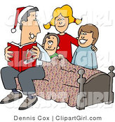 Clip Art of a Dad Reading Christmas Stories to His Kids - Royalty Free by Djart