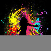 Clip Art of a Dancing Woman, Silhouetted in Black, over a Grungy Black Background of Dots and Splatters by KJ Pargeter