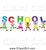 June 25th, 2015: Clip Art of a Diverse Group of Children Holding up Letters Spelling School by Prawny