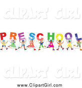Clip Art of a Diverse Group of Kids Spelling the Word Preschool by Prawny