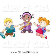 Clip Art of a Diverse Happy School Kids Jumping by BNP Design Studio