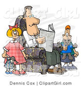 Clip Art of a Divorced Dad Reading Newspaper Beside His Bored Kids by Djart