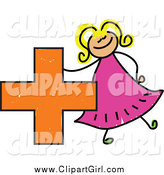 Clip Art of a Doodled Girl with a Plus Symbol by Prawny