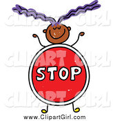 Clip Art of a Doodled Girl with a Stop Sign Body by Prawny