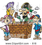 Clip Art of a Exciting Pirate Family Eating Steak and Hot Dogs at a Bbq by Dennis Holmes Designs