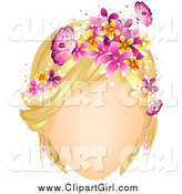 Clip Art of a Faceles Blond White Woman with Butterflies and Flowers in Her Hair by BNP Design Studio