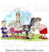 Clip Art of a Family BBQing Outdoors on a Nice Day by Djart