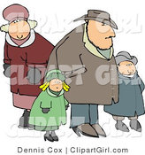 Clip Art of a Family Going out Together in Heavy Coats During the Winter Season by Djart