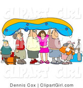 Clip Art of a Family Going River Rafting by Djart