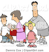 Clip Art of a Family Grocery Shopping Together, the Dad Pushing the Cart by Djart