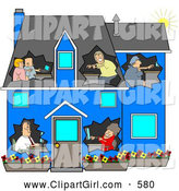 August 9th, 2013: Clip Art of a Family in a Blue House by Djart