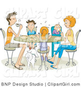 Clip Art of a Family of Five with Their White Dog Eating at a Table by BNP Design Studio