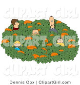 Clip Art of a Family Searching for a Halloween Pumpkin in a Large Pumpkin Patch by Djart