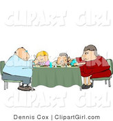 Clip Art of a Family Sitting and Eating Dinner Together at the Dining Room Table by Djart