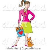 Clip Art of a Fashionable Young White Brunette Woman Wearing Jewelery and Holding a Bag with Two Orange Kittens in It While the Mother Cat Leans and Rubs Against Her Leg by Maria Bell