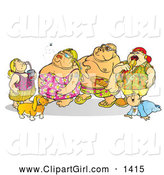 December 18th, 2013: Clip Art of a Fat Family in Swimsuits by Snowy
