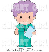 Clip Art of a Female Purple Haired Medical Nurse or Doctor in Green Scrubs, Holding a Clipboard While on Shift at the Hospital by Maria Bell