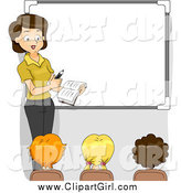 Clip Art of a Female Teacher by a White Board with Students Facing Her by BNP Design Studio