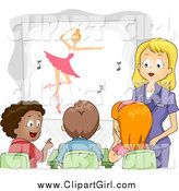 Clip Art of a Female Teacher Showing a Ballet Movie to Her Class by BNP Design Studio