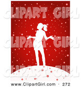 Clip Art of a Festive and Happy Woman Silhouetted in White, Holding Her Arms out and Standing in the Snow, on a Red Background by KJ Pargeter
