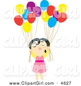 September 20th, 2015: Clip Art of a Floating Asian Girl with Balloons by Cherie Reve