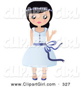 Clip Art of a Friendly Black Haired White Girl with Flowers in Her Hair, Waving and Wearing a Pretty Blue Dress by Melisende Vector