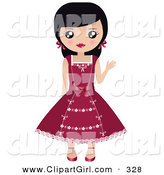 Clip Art of a Friendly Black Haired White Girl with Her Hair in Pigtails, Waving and Wearing a Pretty Red Dress by Melisende Vector
