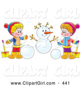 Clip Art of a Friendly Boy and Girl Holding Shovels and Making a Snowman by Alex Bannykh