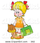Clip Art of a Friendly Cat Following a Blond Girl on Her Way to School by Alex Bannykh