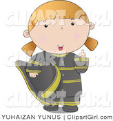 Clip Art of a Friendly Firefighter Woman in a Black Uniform, Giving the Thumbs up by YUHAIZAN YUNUS
