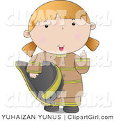 Clip Art of a Friendly Firefighter Woman in a Brown Uniform, Giving the Thumbs up by YUHAIZAN YUNUS