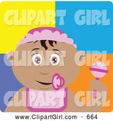 Clip Art of a Friendly Hispanic Baby Girl with a Pacifier, Bib and Rattle by Dennis Holmes Designs