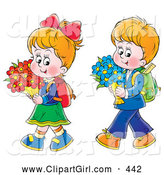 Clip Art of a Friendly Little Boy and Girl Walking Home from School with Flowers by Alex Bannykh