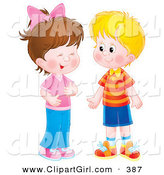 Clip Art of a Friendly Little Girl Giggling While Talking to a Boy by Alex Bannykh