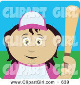 Clip Art of a Friendly Mexican Girl Batting During a Baseball Game by Dennis Holmes Designs