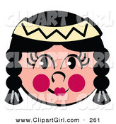 Clip Art of a Friendly Native American Indian Woman's Face with Braids, Flushed Cheeks and a Headband by Andy Nortnik