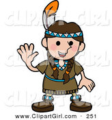 Clip Art of a Friendly White Girl in a Native American Indian Costume Made of Leather and Beads, Wearing a Feather in Her Hair and Waving by AtStockIllustration