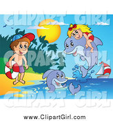 Clip Art of a Girl and Boy with Dolphins on a Beach by Visekart