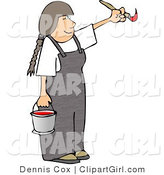 Clip Art of a Girl Artist Painting with a Paintbrush and Pail of Red Paint by Djart