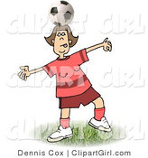 Clip Art of a Girl Balancing a Round Soccer Ball on Top of Her Head by Djart