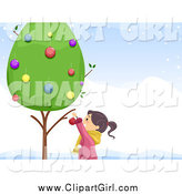 Clip Art of a Girl Decorating a Live Tree by BNP Design Studio