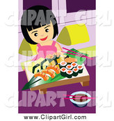 Clip Art of a Girl Eating Sushi by Mayawizard101