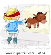 Clip Art of a Girl Pinning the Tail on a Donkey at a Party by BNP Design Studio
