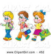 Clip Art of a Girl Walking with Two Boys on the Way to School, on White by Alex Bannykh