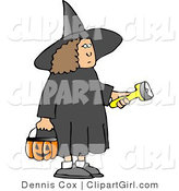 Clip Art of a Girl Wearing a Black Halloween Witch Costume While Trick-or-treating with a Candy Bucket and Flashlight by Djart