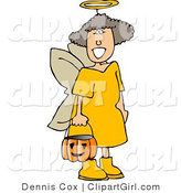 Clip Art of a Girl Wearing Halloween Angel Costume While Trick-or-Treating on Halloween Eve by Djart